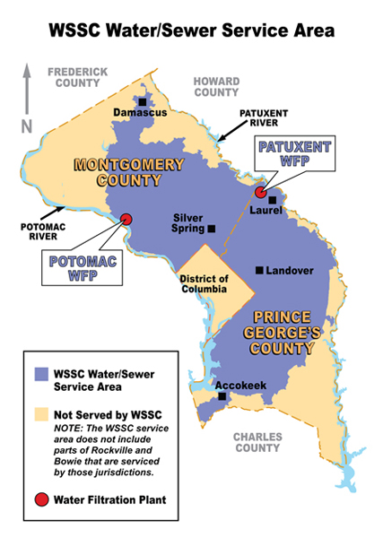 washington suburban sanitary commission an organizational The washington suburban sanitary commission (wssc) is a government agency that provides safe drinking water and wastewater treatment for montgomery and prince george's counties in maryland except for a few cities in montgomery county that continue to operate their own water.