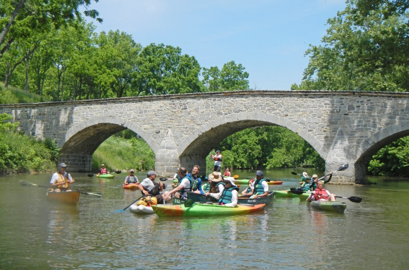 The Antietam Creek paddle passes under stone arch bridges like this.