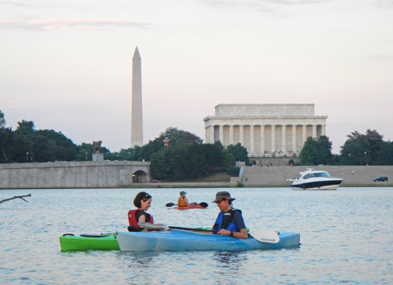 Monuments paddlers will see include the Washington, Lincoln, and Jefferson memorials.