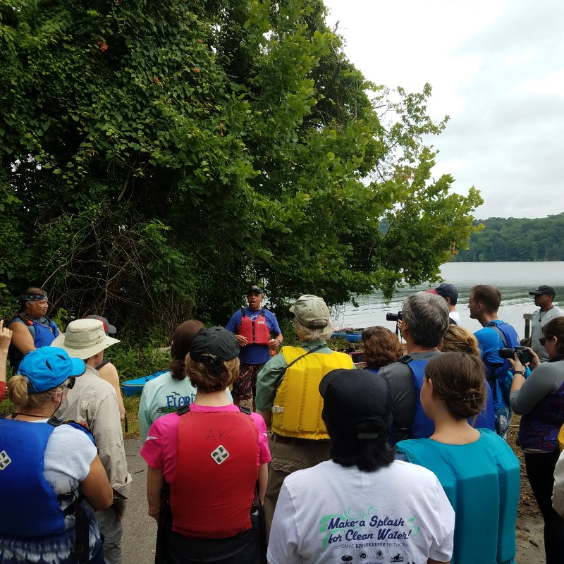 The Piscataway paddle begins with an educational lecture by people of the Piscataway Kanoi Tribe.