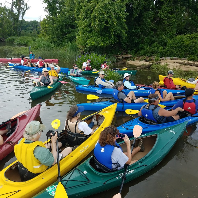 The Piscataway paddle involves mostly tandem kayaks.