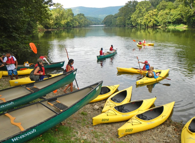 You'll canoe or kayak to the snorkeling spots on the Shenandoah River.