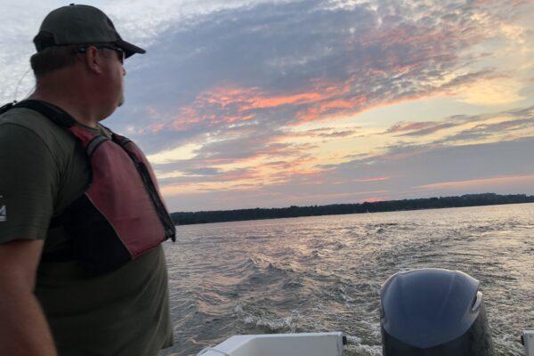 Potomac Riverkeeper Dean Naujoks out patrolling with the newly donated Yamaha Motor.